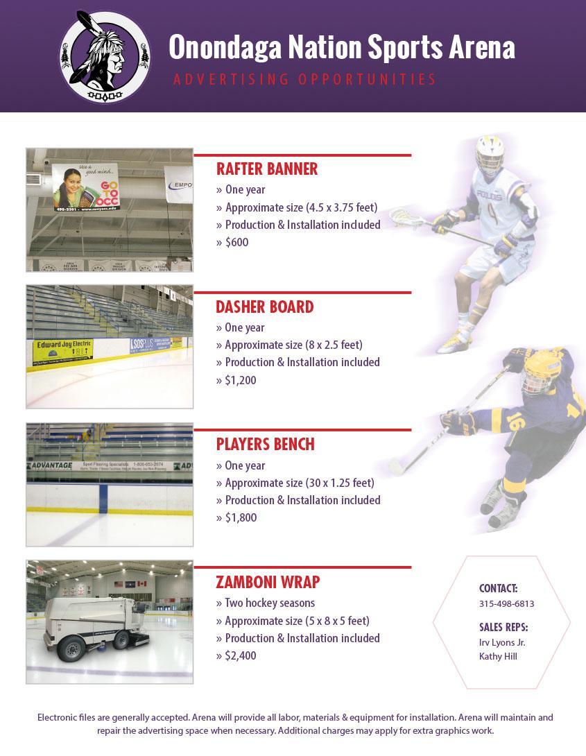 Onondaga Nation Arena Brochure, Rack Card, and Sales Sheet | Cowley